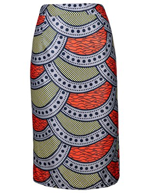 High-Waisted Printed Pencil Skirt