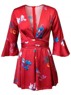 Floral Plunging Neck 3/4 Sleeves Romper - Red