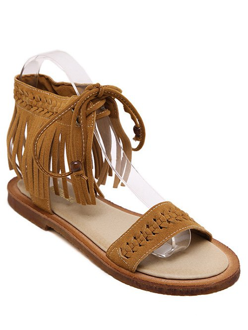Fringe Lace-Up Flat Heel Sandals