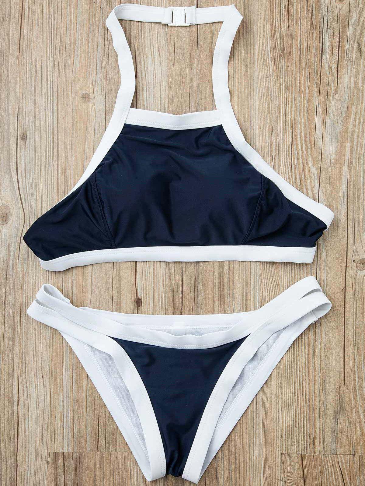 Halterneck Hit Color Bikini Set