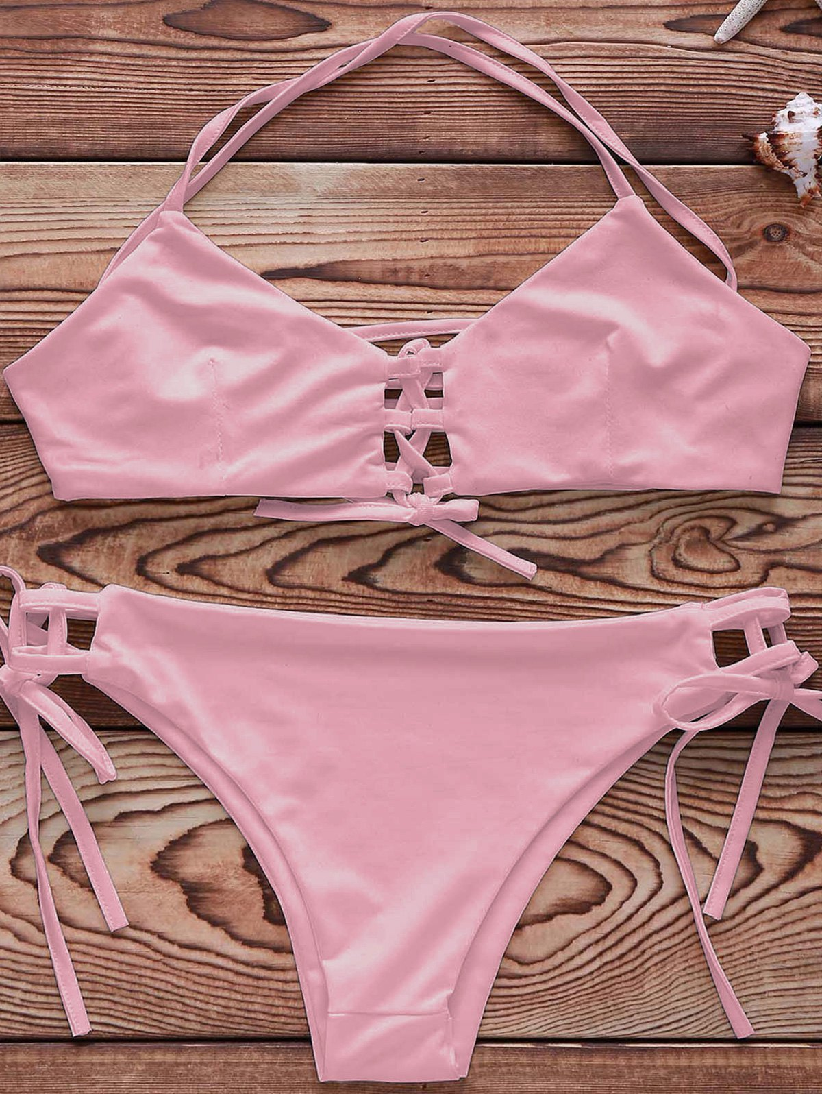 Spaghetti Strap Lace-Up Solid Color Bikini Set