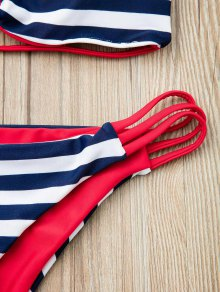 Strapless Hollow Out Striped Bikini Set - RED S