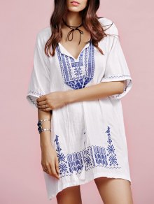 Ethnic Embroidery V Neck Half Sleeves Dress
