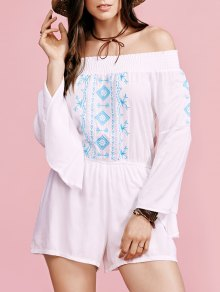Embroidery Off The Shoulder Flare Sleeve Romper