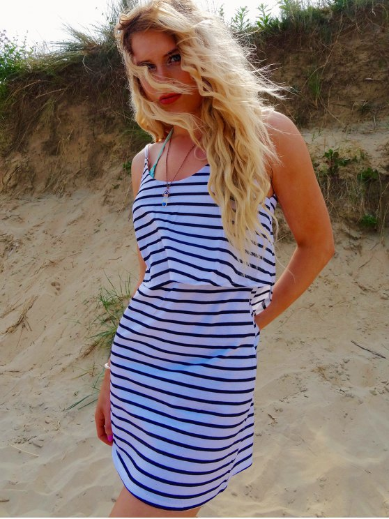 Striped Backless Cami Overlay Dress - WHITE L Mobile