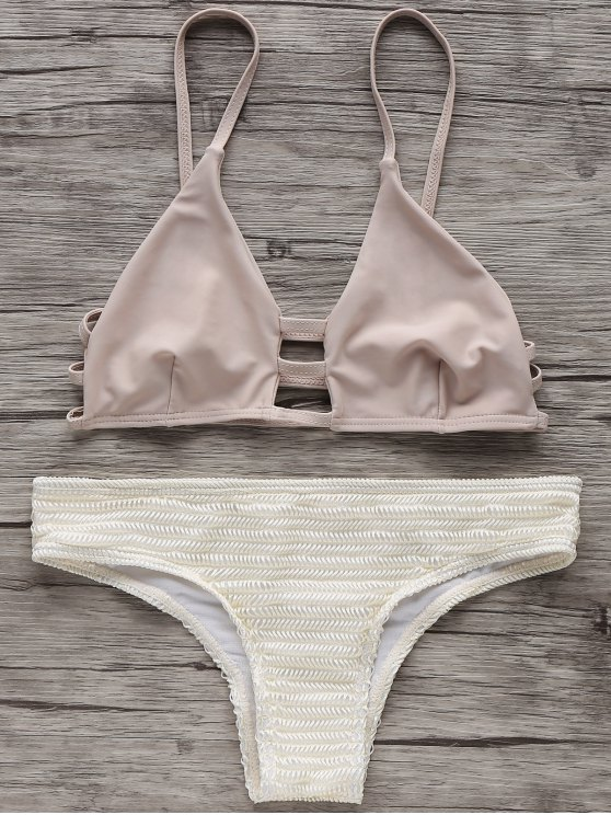 women's Two Tone Spaghetti Straps Bikini Set - OFF-WHITE M