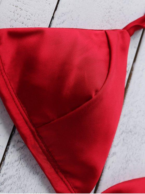 Spaghetti Strap Pure Color Crop Top - WINE RED XL Mobile