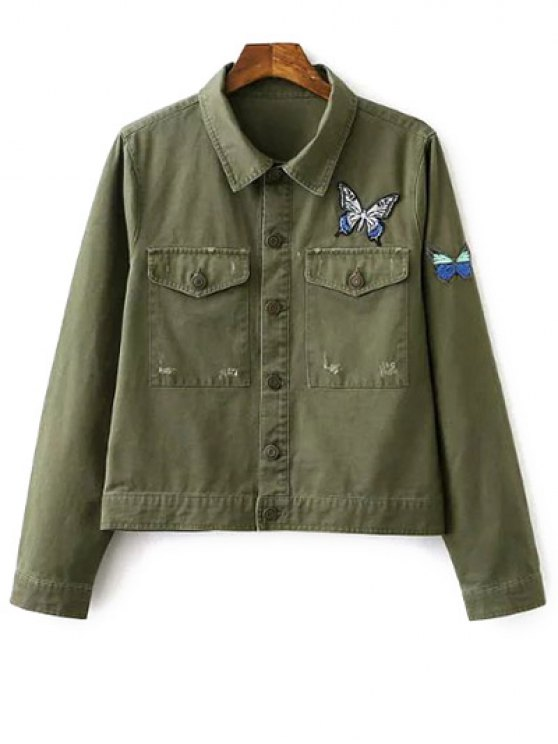 Papillon Embroidery Shirt Collar Jacket - Vert Armée S