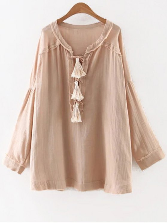 hot Solid Color Round Neck Long Sleeve Tassels Blouse - NUDE M