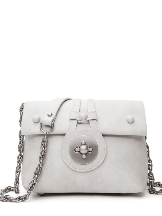 lady Hasp Chains Solid Color Crossbody Bag - WHITE