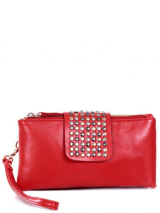 Rivet Zips Solid Color Clutch Bag - RED  Mobile