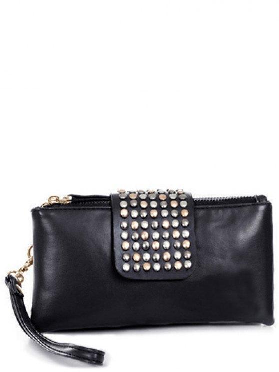 Remache cremalleras sólido del bolso de embrague del color - Negro