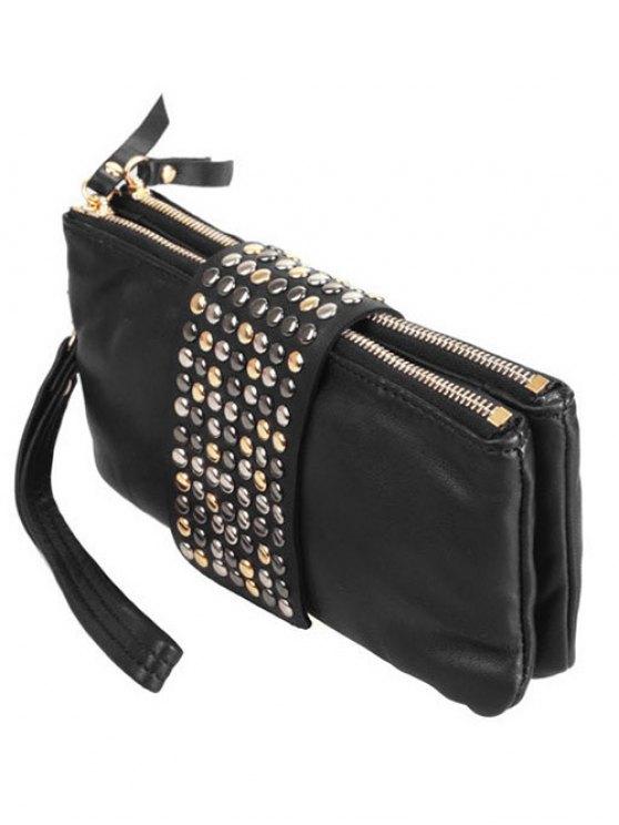 Rivet Zips Solid Color Clutch Bag - BLACK  Mobile