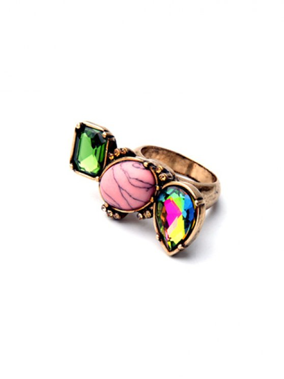 affordable Geometric Faux Gem Ring - GOLDEN