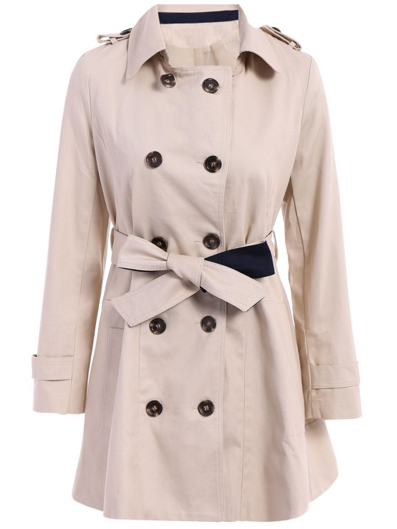 women Lapel Double-Breasted Belt Trench Coat - APRICOT S