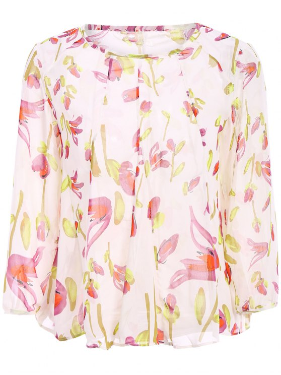 shops Long Sleeves Floral Print Blouse - OFF-WHITE S