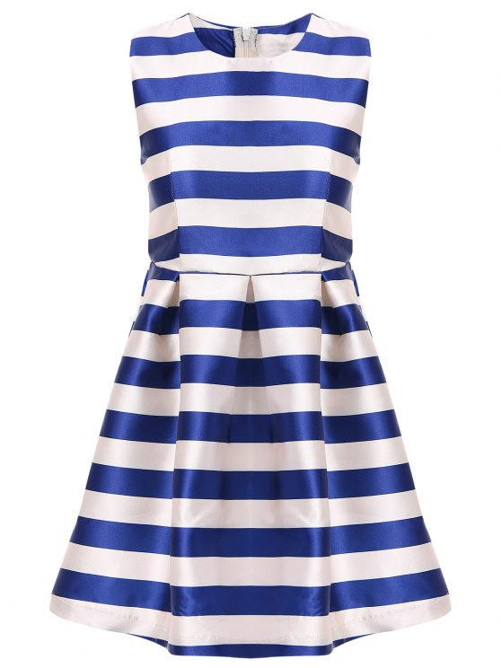 buy White Blue Stripe Red Belt Sleeveless Dress - STRIPE S