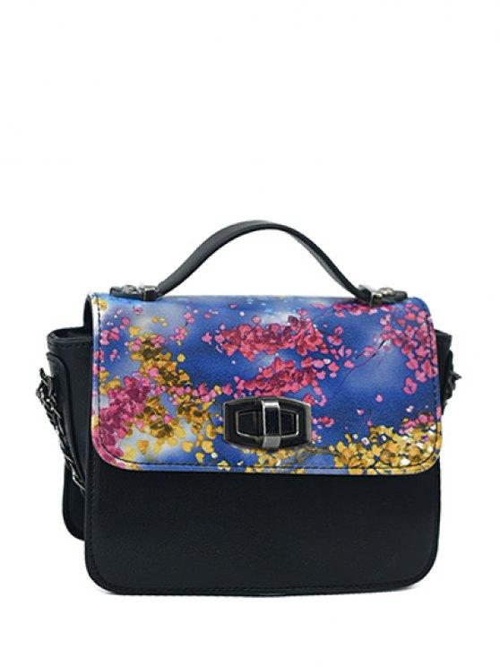 women Printed Hasp Color Block Tote Bag - BLACK