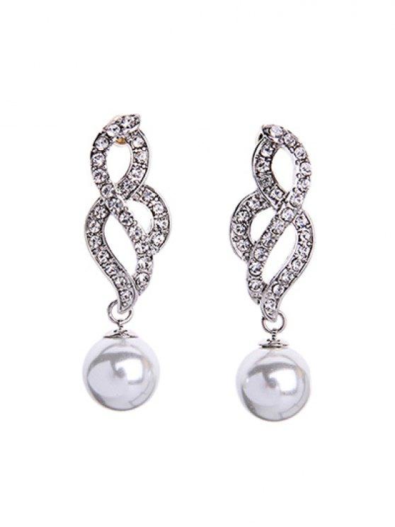 chic Faux Pearl Elegant Lady Earrings - SILVER