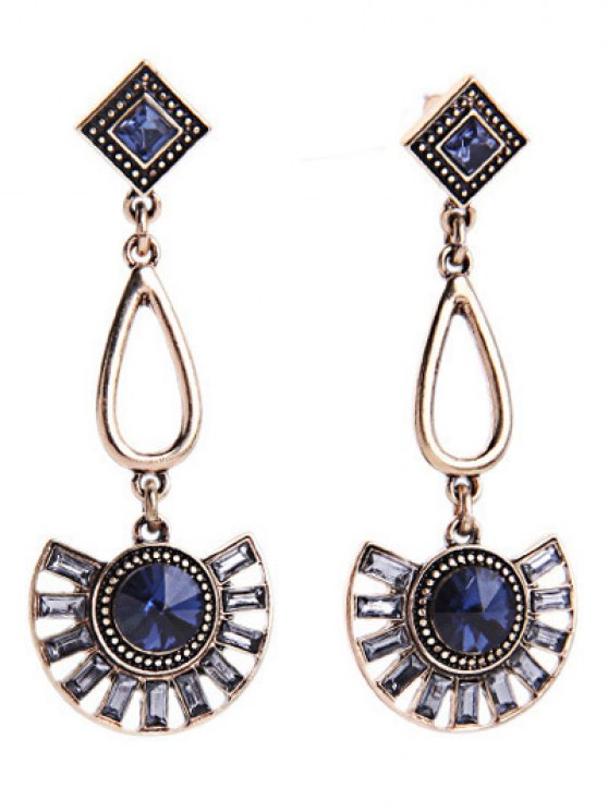 unique Faux Sapphire Fan-Shaped Earrings - BLUE