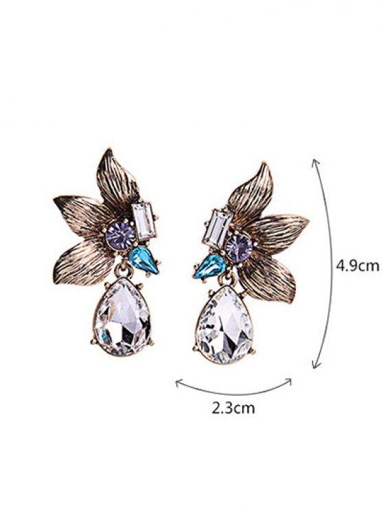 Rhinestone Symmetric Flower Earrings - GOLDEN  Mobile