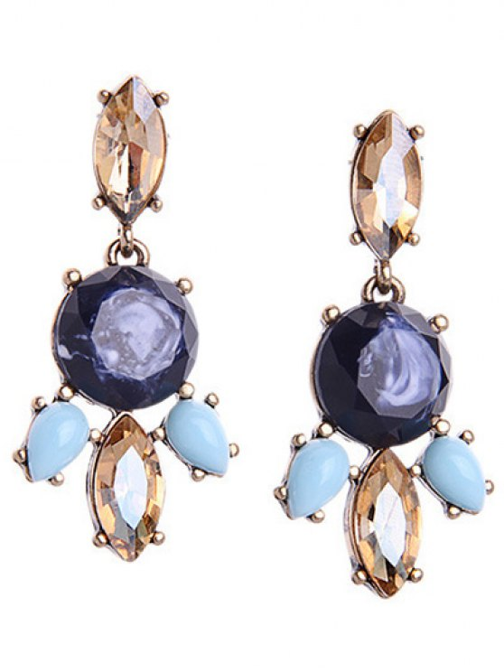 affordable Faux Gem Retro Water Drop Earrings - DEEP BLUE