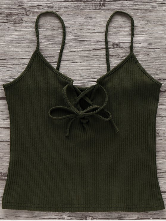 new Solid Color Cami Lace Up Tank Top - ARMY GREEN CAMOUFLAGE S