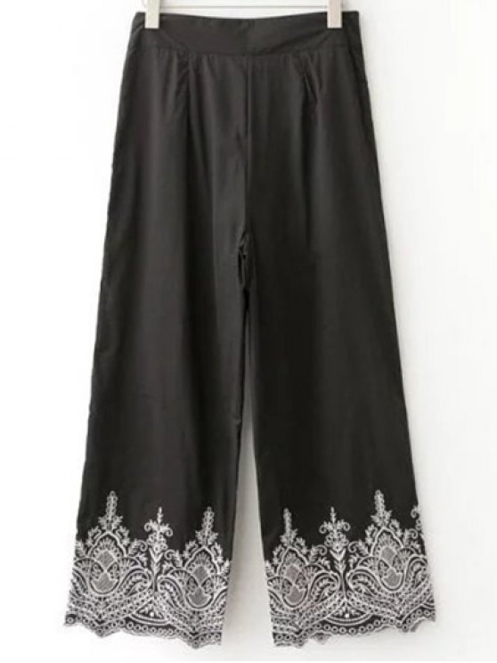 lady Embroidered Wide Leg Pants - BLACK L