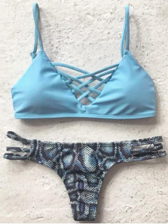 shop Printed Spaghetti Straps Bikini Set - LIGHT BLUE S