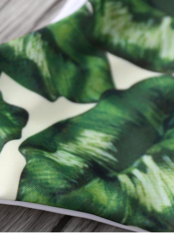 Spaghetti Straps Palm Tree Bikini - PINK S Mobile