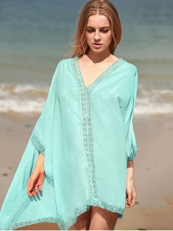 Solid Color Lace Border V Neck Bat-Wing Sleeve Dress - LIGHT GREEN ONE SIZE(FIT SIZE XS TO M) Mobile