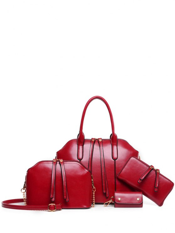 Zips Solid Color PU Leather Tote Bag - WINE RED  Mobile