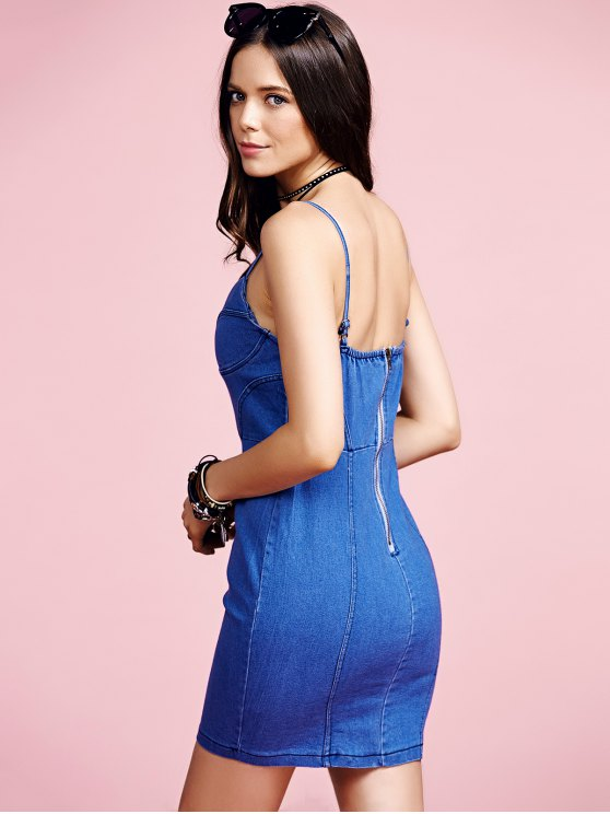 Blue Denim Cami Bodycon Dress - LIGHT BLUE M Mobile