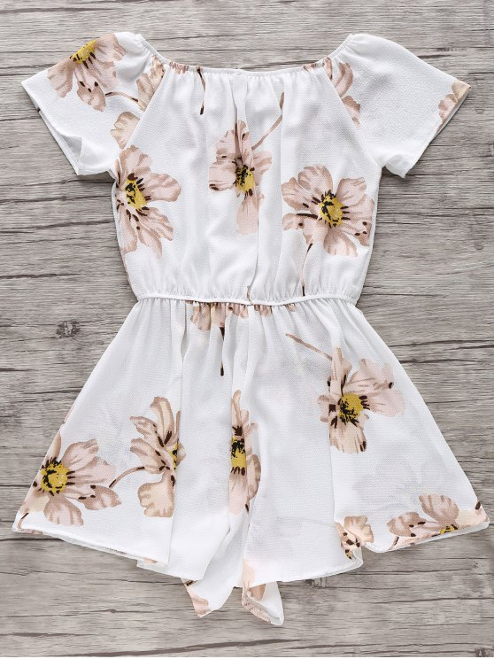 Floral Print Off The Shoulder Drawstring Romper - WHITE S Mobile