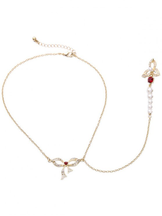 online Rhinestone Bowknot Long Pendant Necklace - GOLDEN