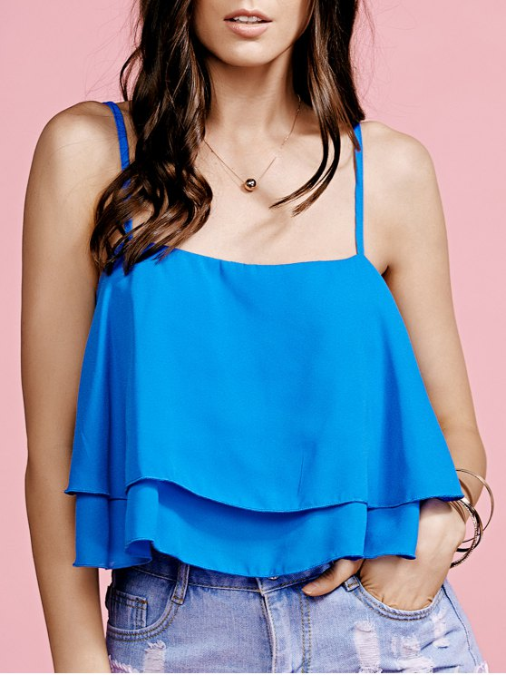 women Ruffled Cami Pure Color Crop Top - BLUE S