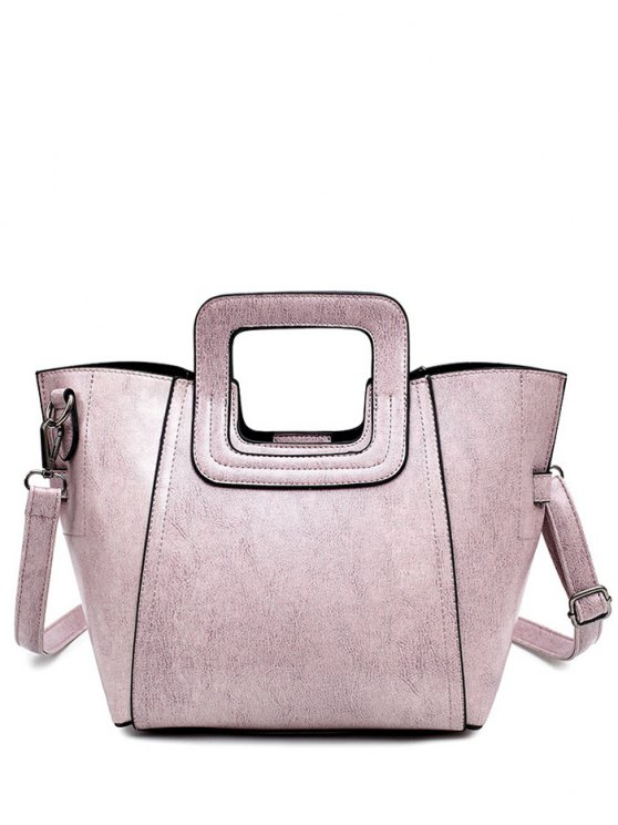 shops Stitching PU Leather Solid Colour Tote Bag - PINK