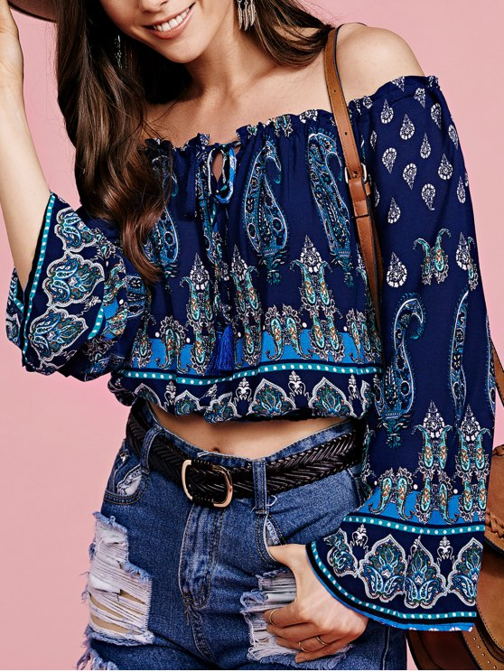 chic Bohemian Printed Off The Shoulder Cropped Blouse - PURPLISH BLUE S
