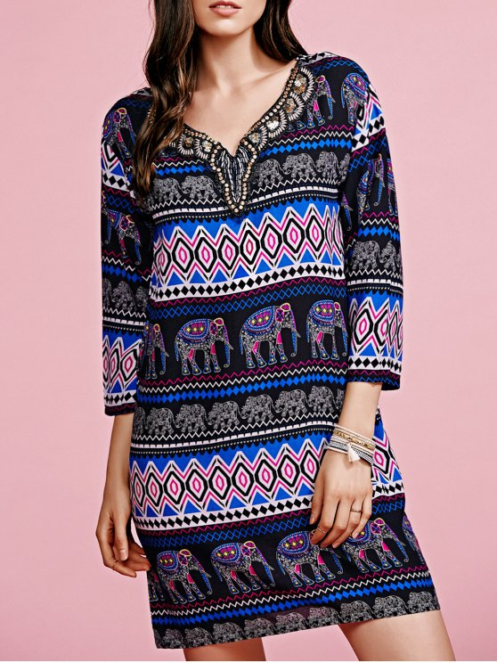 Print V-Neck 3/4 Sleeve Beaded Dress - COLORMIX ONE SIZE(FIT SIZE XS TO M) Mobile