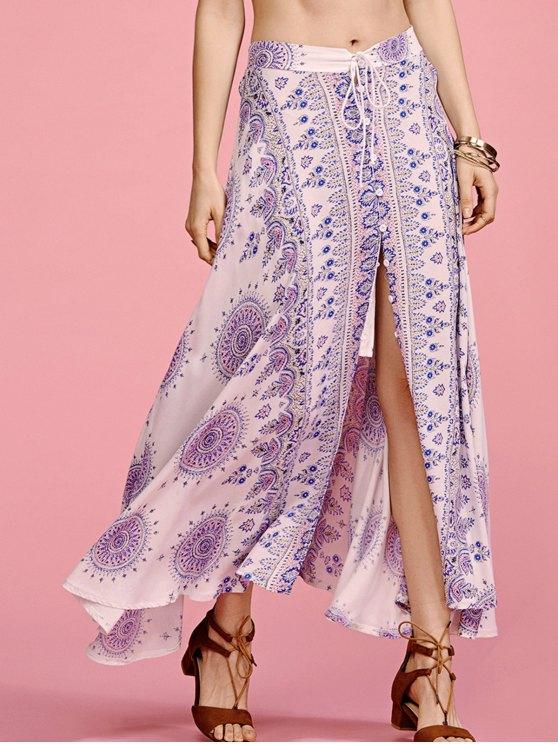 Ethnic Print cintura alta falda de hendidura - Colormix L