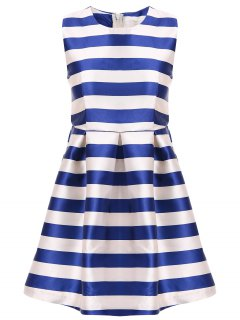 White Blue Stripe Red Belt Sleeveless Dress - Stripe Xl