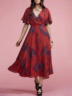 Geometric Plunging Neck Short Sleeve Maxi Dress - Darksalmon S
