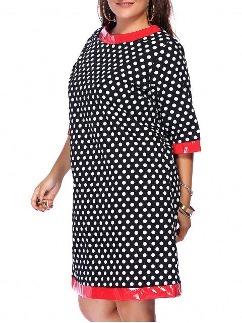women Polka Dot Splicing Round Neck Plus Size Dress - BLACK L Mobile
