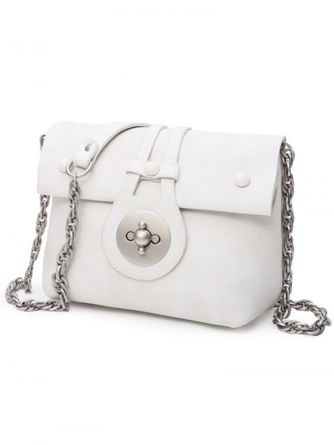lady Hasp Chains Solid Color Crossbody Bag - WHITE  Mobile