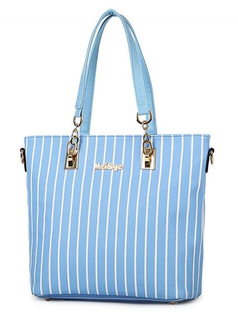 trendy Striped Metal Letter Shoulder Bag - AZURE  Mobile