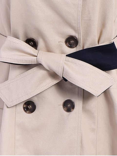 women Lapel Double-Breasted Belt Trench Coat - APRICOT S Mobile