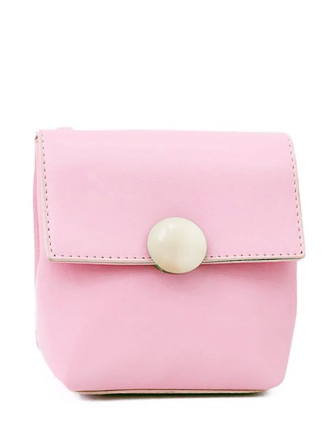lady Metal Solid Color Stitching Crossbody Bag - PINK  Mobile