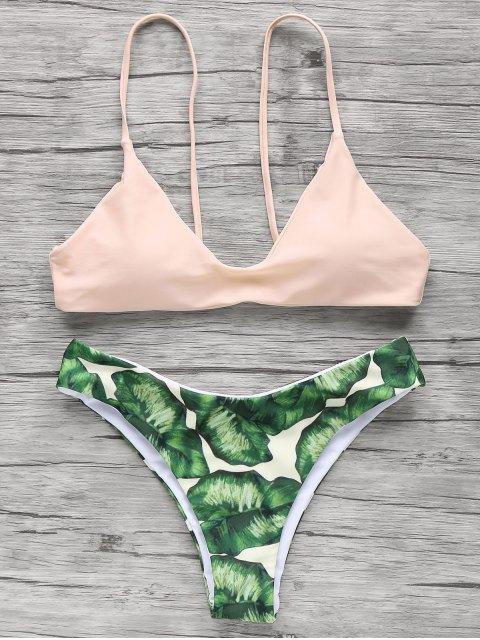 fancy Spaghetti Straps Palm Tree Bikini - LIGHT APRICOT PINK M Mobile