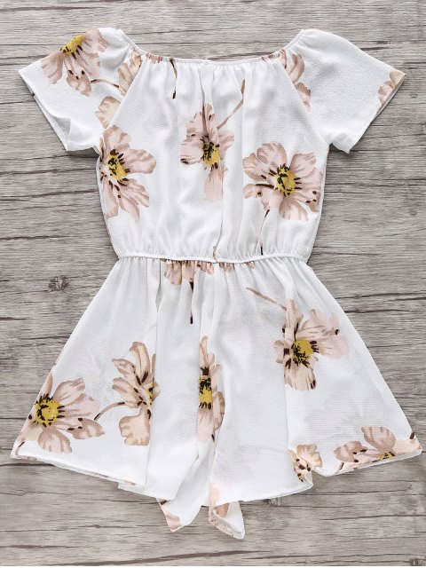 new Floral Print Off The Shoulder Drawstring Romper - WHITE XL Mobile