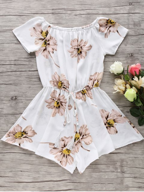 best Floral Print Off The Shoulder Drawstring Romper - WHITE M Mobile